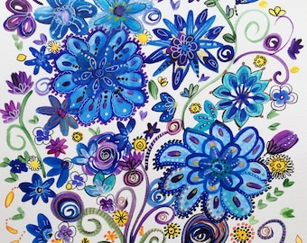 Watercolor flowers: the scattered flowers