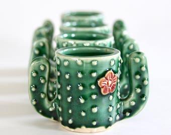 Cactus Shot Glass - Succulent Espresso Cup - Handmade Ceramic Pottery - MADE TO ORDER