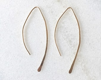 Almond Hoop Earrings 14K Gold Filled or Sterling Silver Open Hoops - Medium