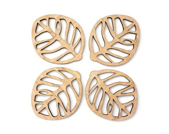 Wooden coasters (Set of 4) - Leaf coasters - minimal homewares