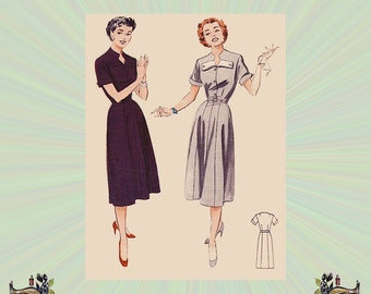 1950s One Piece Dress with Keyhole Neckline & Cuffed Short Sleeves, Detachable Collar Tabs, Size 16 Bust 34, Butterick Sewing Pattern 6947