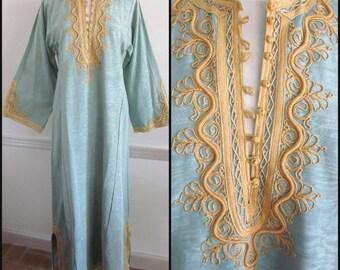 70s Caftan / Vintage Caftan / Moire Caftan / fits M / 70s Couture Caftan