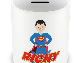 Personalized Superhero Money Box - Piggy Bank Savings Gift Idea Boys powers name kids children party gift present birthday