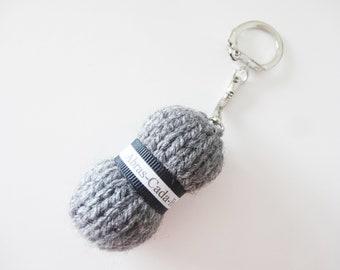 Charcoal grey wool Pincushion keychain