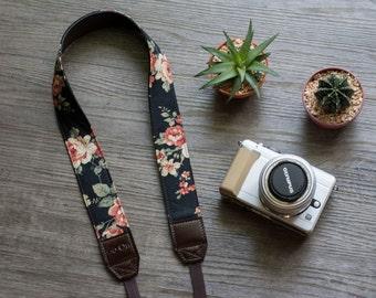 Black Floral Vintage Camera Strap for DSLR  , Mirror Less ,Compact