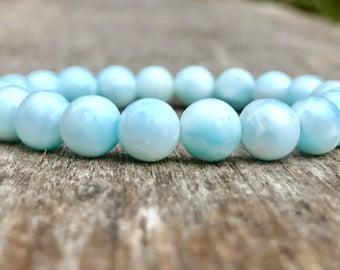 Natural Dominican Larimar Beaded Bracelet  Handmade 8mm Larimar Gemstone Bracelet Milky Blue & White Bracelet Enlightenment Bracelet
