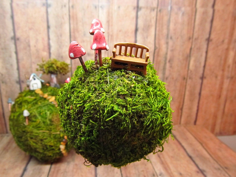 Small Moss Hanging moss ball ornament Miniature fairy