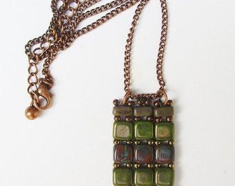 Olive and copper tile pendant set