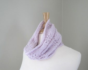 Alpaca Wool Cowl Scarf, Pale Pink, Hand Knit Lace Cowl, Women's Neck Scarf, Tube Scarf, Luxury Alpaca Wool