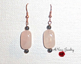 Earrings: Rose Quartz and Hematite