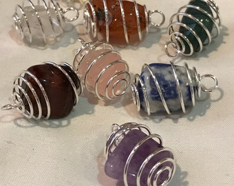 Caged tumbled gemstone charms