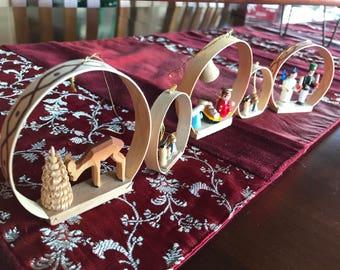 Five wonderful vintage German Christmas ornaments. Nativity, deer and angel and soldier