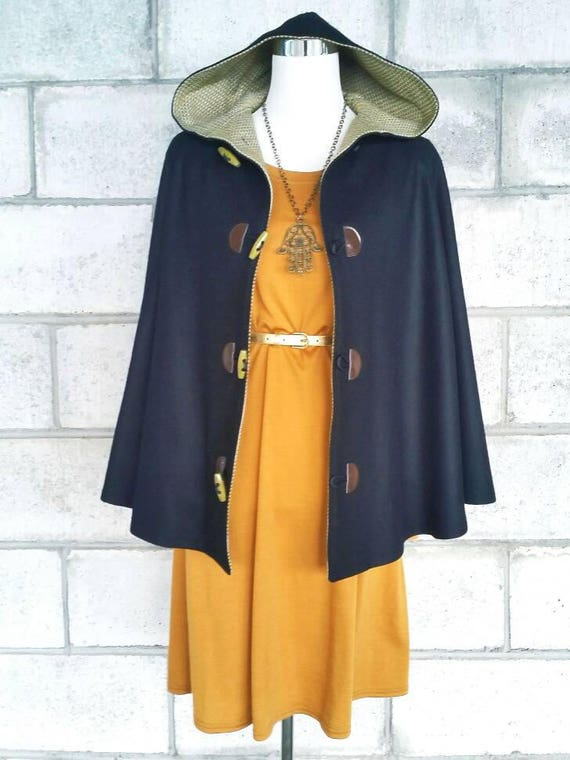 Black Wool Cape, Cloak, Poncho, Coat with Hood and Toggles.