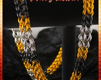 Full Persian - Orange, Black, & Silver Chainmaille Necklace