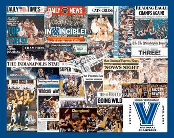 "University of Villanova Championship Newspaper Collage Print Art- 8x10"" Matted"