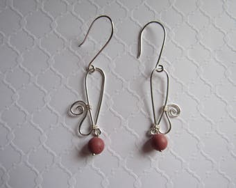 Wire Wrapped Artisan Earrings Silver with Agate