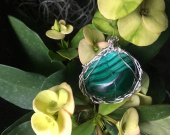 Spring Goddess Malachite And Sterling Silver Pendant