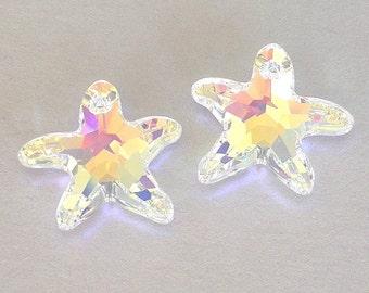 2 Swarovski crystal AB starfish pendants, 16mm, style 6721, Swarovski AB star