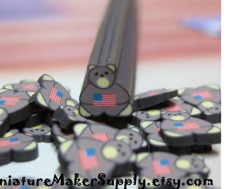 teddy bear polymer clay cane American Flag uncut 1pc baked nail art supplies miniature fake foods and decoden red white blue usa DIY