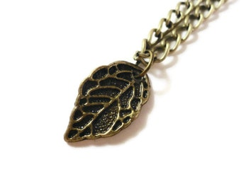 Bronze Leaf Necklace, Nature Necklace, Antique Brass Charm Necklace, Metal Chain Necklace, Pendant Necklace, Teen and Women's Jewelry