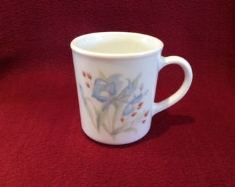 Pyrex Iris Blue Iris Tall Can Coffee or Tea Mugs circa 1985