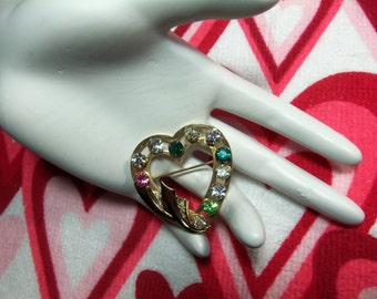 Vintage Multi Color Rhinestone 1/20 12K Gold Filled Heart Figural Mothers Heart Pin Brooch