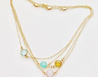 Dew Drop- Gold Bezeled Gemstone Necklace