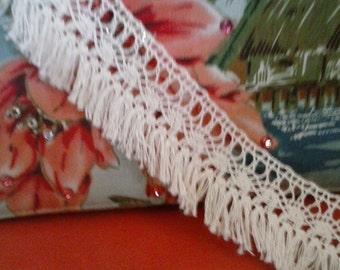 Cotton Lace Fringe Trim by the yard, Fringe Lace, Cotton Fringe, Baby cloth fringe, cream fringes, DIY supplies, lace supplies-#R011