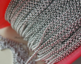 10 Meters, 2.0 mm Rolo Chain, Original Rhodium Plated Brass Chain, Basic Fashion Jewelry Chain, 2.0 mm BL, Quality Brass Chain