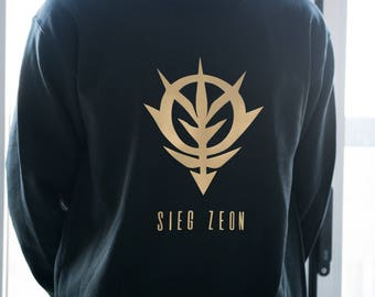 Gundam SIEG ZEON Sweater/Hoodie for Men/Women in Black with Gold print *Customization possible
