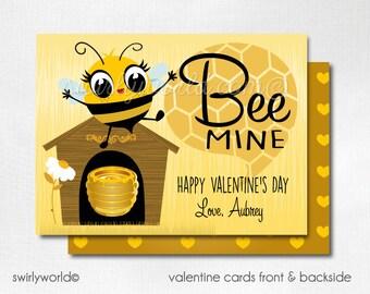 """Bee Mine Valentine Cards, Digital Printable Bumble Bee """"Bee Mine"""" Valentine Cards, Digital Valentine Cards, Digital Kids Valentine DIVAL112"""