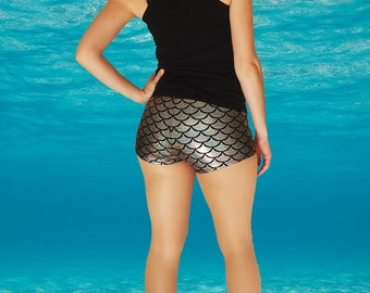Shiny Silver Mermaid Fish Scale Roller Derby Shorts