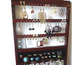 ON SALE Jewelry Organizer Ring Storage, Dark Mahogany Stain, Solid Oak Hardwood, Earring Necklace Rack, Bracelet Display, Elegant Wooden Hol