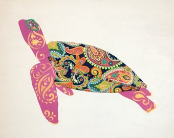 Green Sea Turtle 4 (pink) - Original Mixed Media on Canvas painting