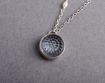 Blue Tobiko Silver Button Necklace- made to order
