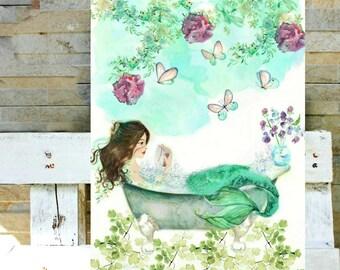 Watercolor Mermaid Reading - The Little Mermaid Art