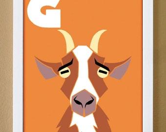 alphabet letter G, goat, custom colors, letter print, children's letter art, barnyard nursery, farm nursery, 4X6, 5X7, 8X10