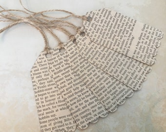 Recycled Upcycled Vintage Book Print Gift Tags Handmade from J R R Tolkien Books - Lord of the Rings, The Hobbit