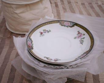 Set of 6 Antique Noritake Pheasant Tea Cup Saucers Floral Gilt Japan Golden Age