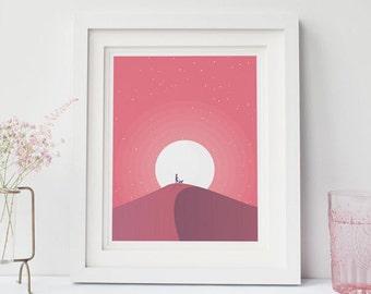 "Desert Dusk Print 8""x10"", Nursery Art, Nursery Decor"