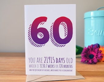 60th birthday card | Milestone birthday card | Personalised greetings card | 60 today!