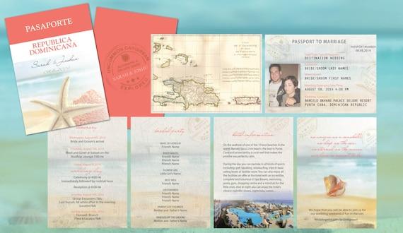 Destination Wedding Invitations Passport: Destination Wedding Travel Passport Invitations // Coral Aqua