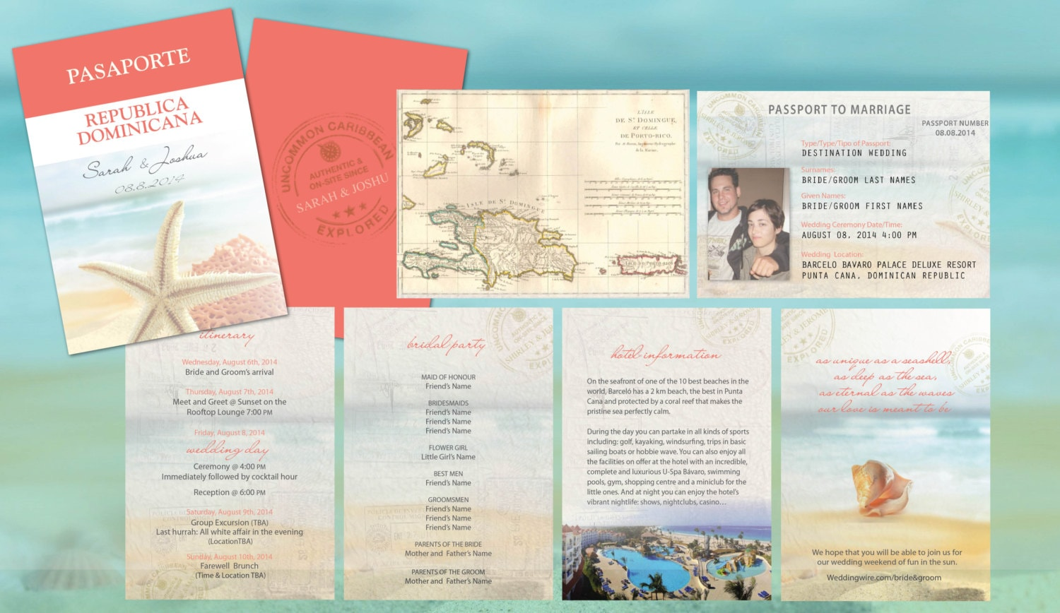 Destination Wedding Travel Passport Invitations // Coral Aqua