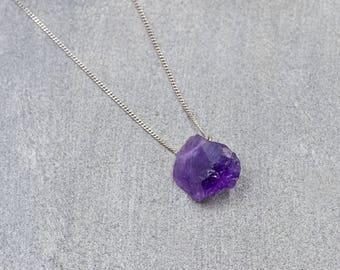 Purple Amethyst Silver Necklace