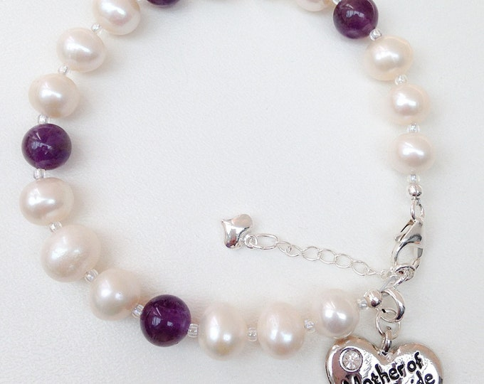 Freshwater Pearl and amethyst Bracelet, personalised Gift, mother, bride, sister, auntie, friend, 18th, 21st, mother of groom