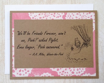 Friends Forever - Winnie the Pooh Quote - Classic Piglet and Pooh Note Card Pink Lace Border