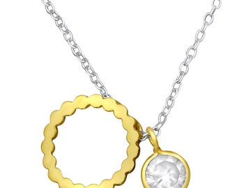 Silver Circle Necklace Pendant Gold
