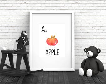 Apple Nursery Art, A is for Apple Print, 8x10 Printable, Apple Print, Wall Art, Watercolor