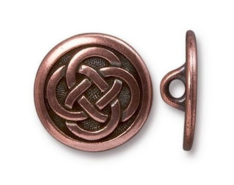 TierraCast Button, Metal Shank Button, Celtic Knot Button, Antiqued Copper Celtic Knot Button (TC-6567-18) - 16.35mm - Qty. 1