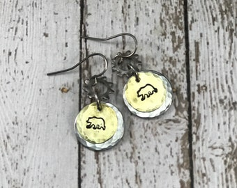 Bear Earrings - handstamped Brass with Stainless Steel Washers, animals, nature, mama bear